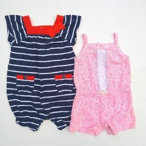 Carter's • baby girl 9 mo summer rompers, lot of 2